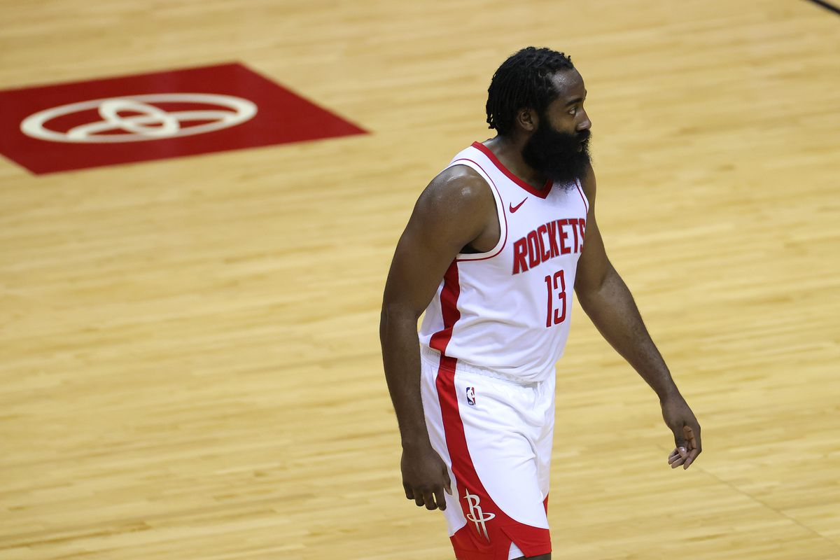James Harden of the Houston Rockets looks on during the second half of a game against the San Antonio Spurs at the Toyota Center on December 17, 2020 in Houston, Texas.