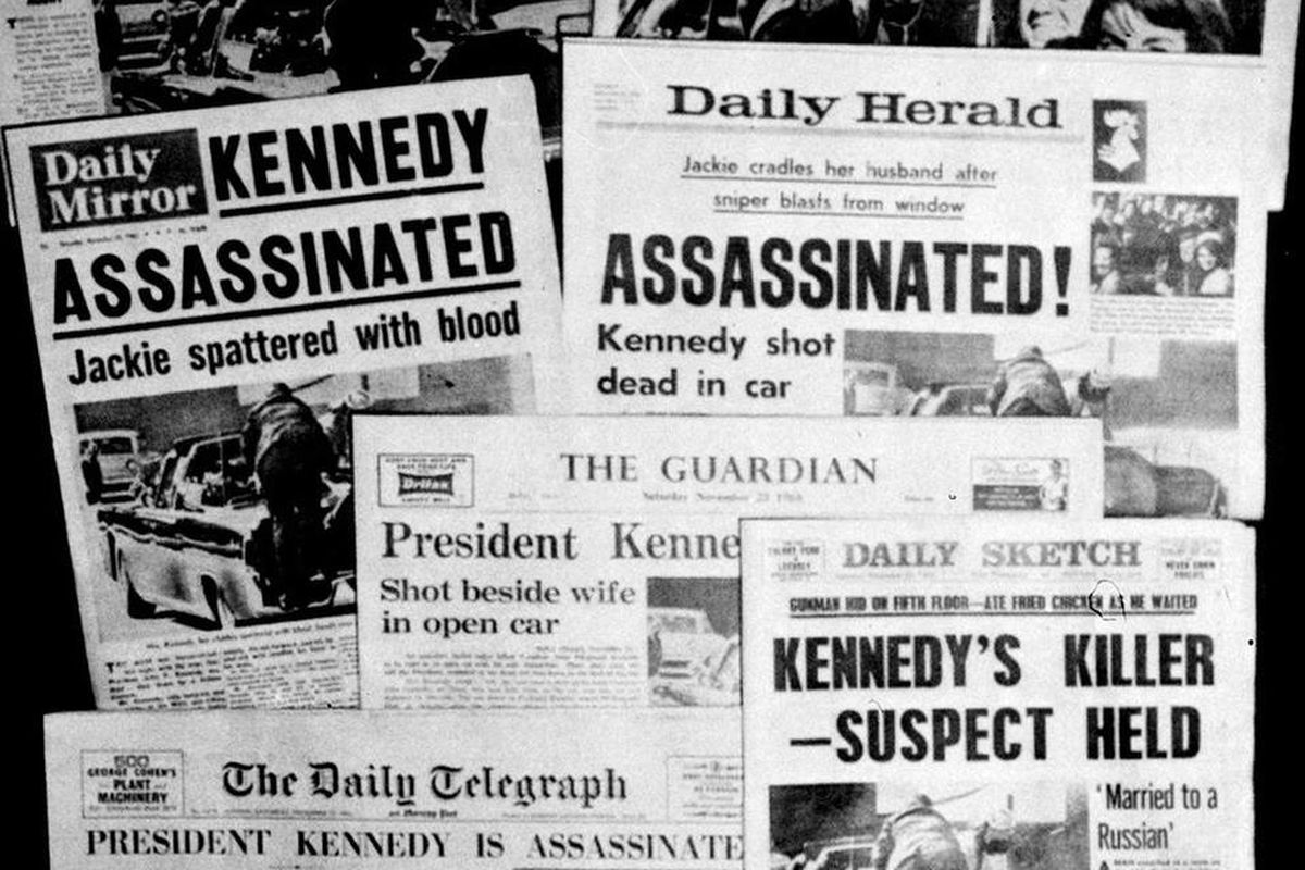 This Friday, Nov. 22, 1963 file photo shows the front pages of seven British national daily newspapers in London headlining the assassination of U.S. President John F. Kennedy. Friday, Nov. 22, 2013 marks the 50th anniversary of his death.