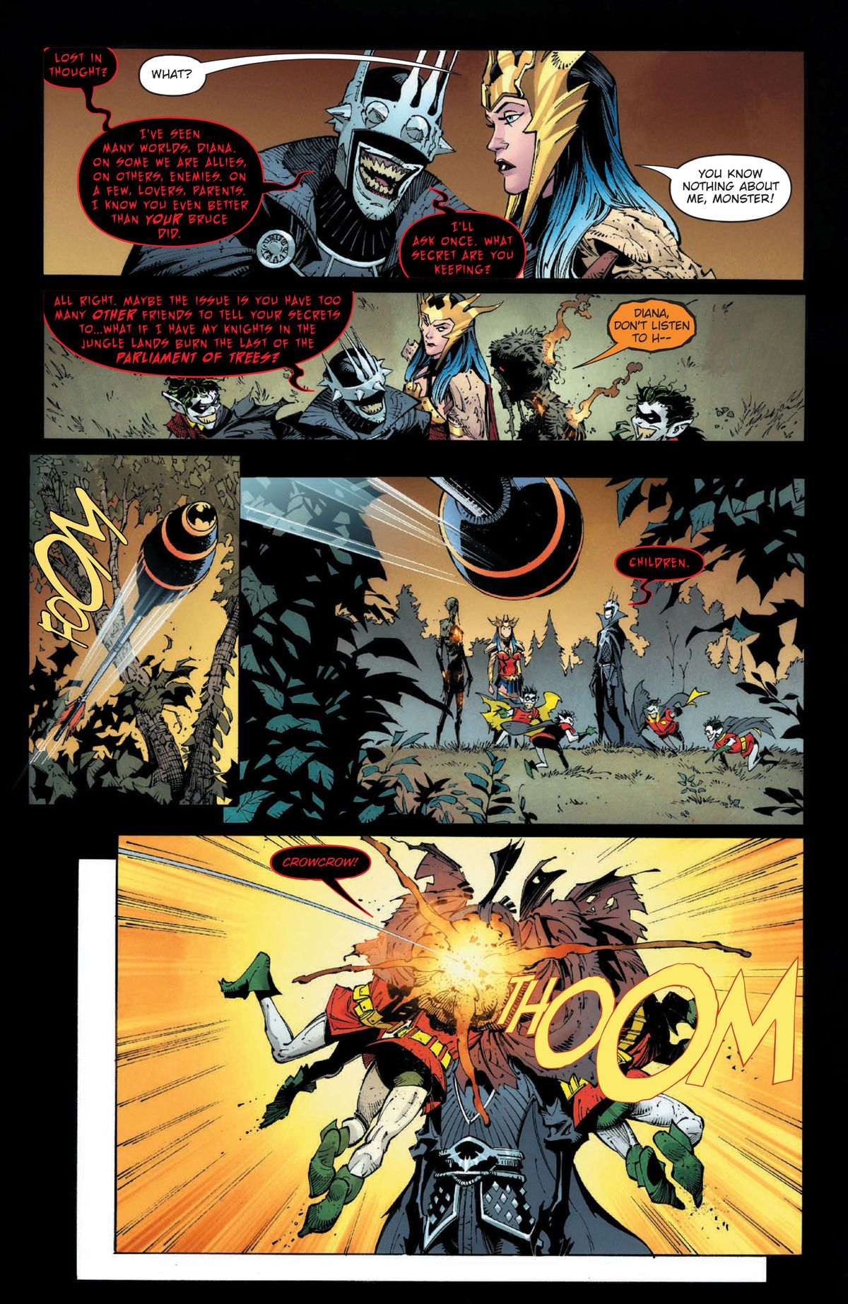 The Batman Who Laughs questions Wonder Woman just before he is fired upon by somebody with a bat-explosive-arrow, in Dark Nights: Death Metal #1, DC Comics (2020).