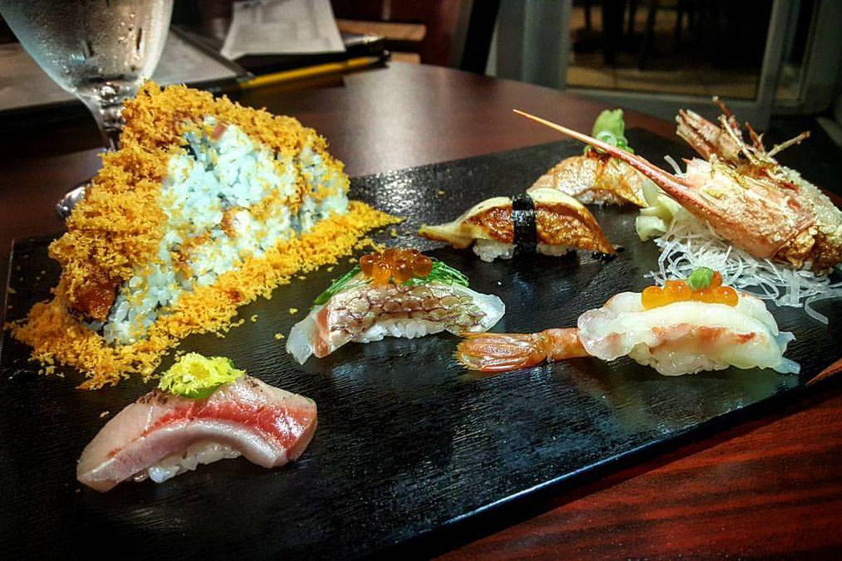 Omakase nigiri and volcano roll at Ebi Sushi
