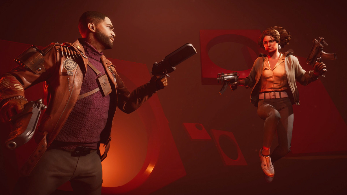 Deathloop's protagonist Colt and antagonist Juliana face off in a geometric void