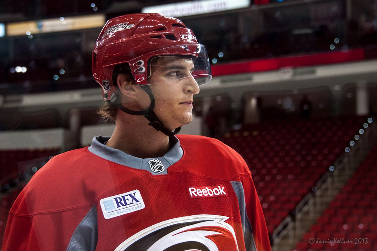 Brody Sutter contemplates life as a Carolina Hurricane. He may be one tomorrow night.