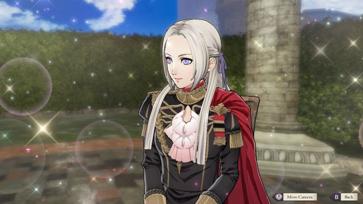 A woman with white hair and black clothes named Edelgard looks off into the distance