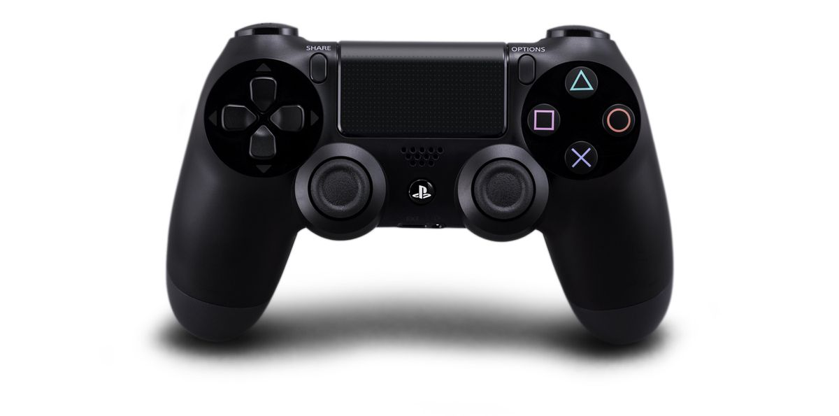 Sony's DualShock 4 on a white background with a tasteful shadow underneath.