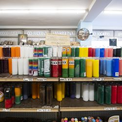 Various candles sit on the shelf at Athenian Candle Company in Greektown.   Tyler LaRiviere/Sun-Times