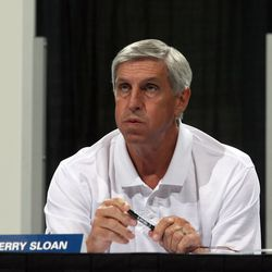 Jerry Sloan watches the 2007 NBA draft at EnergySolutions Arena in Salt Lake City Thursday, June 28, 2007.