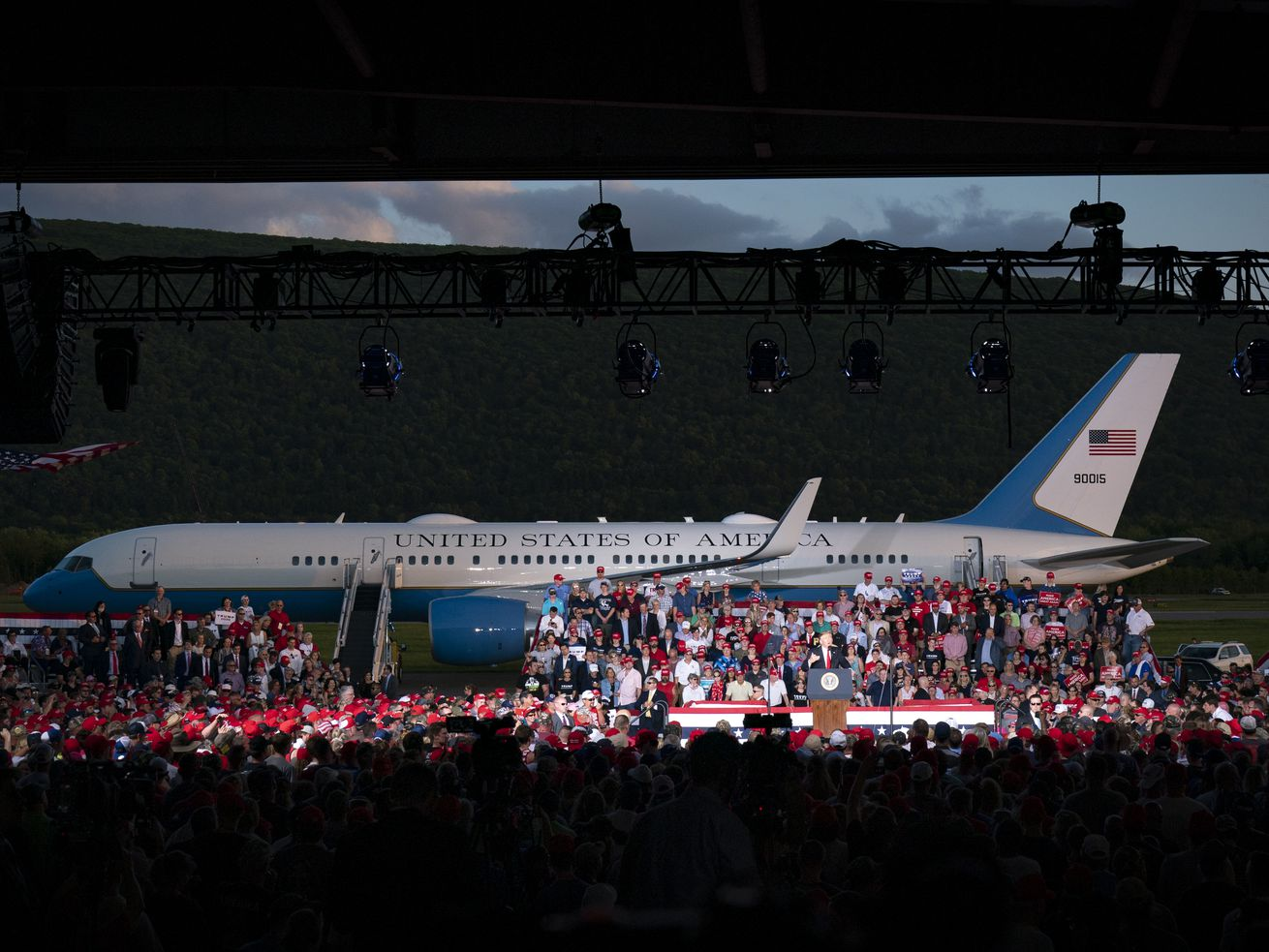 Trump used Air Force One as a prop at his rally Monday evening in Pennsylvania.