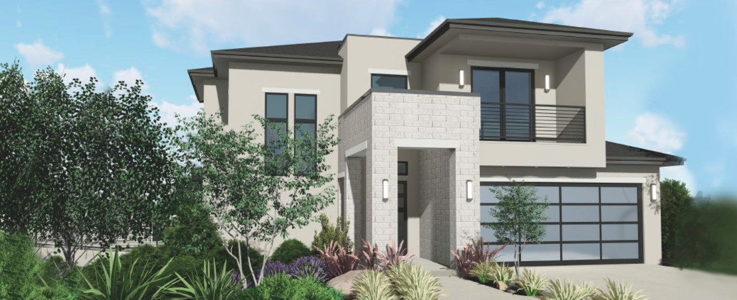 A rendering of a white, multi-tiered home with flat roofs.