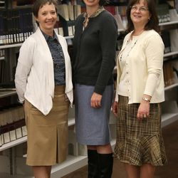 Jenny Reeder, Kate Holbrook and Lisa Tait pose for a photo at the LDS Church History Library in Salt Lake City on Thursday, Dec. 3, 2015.
