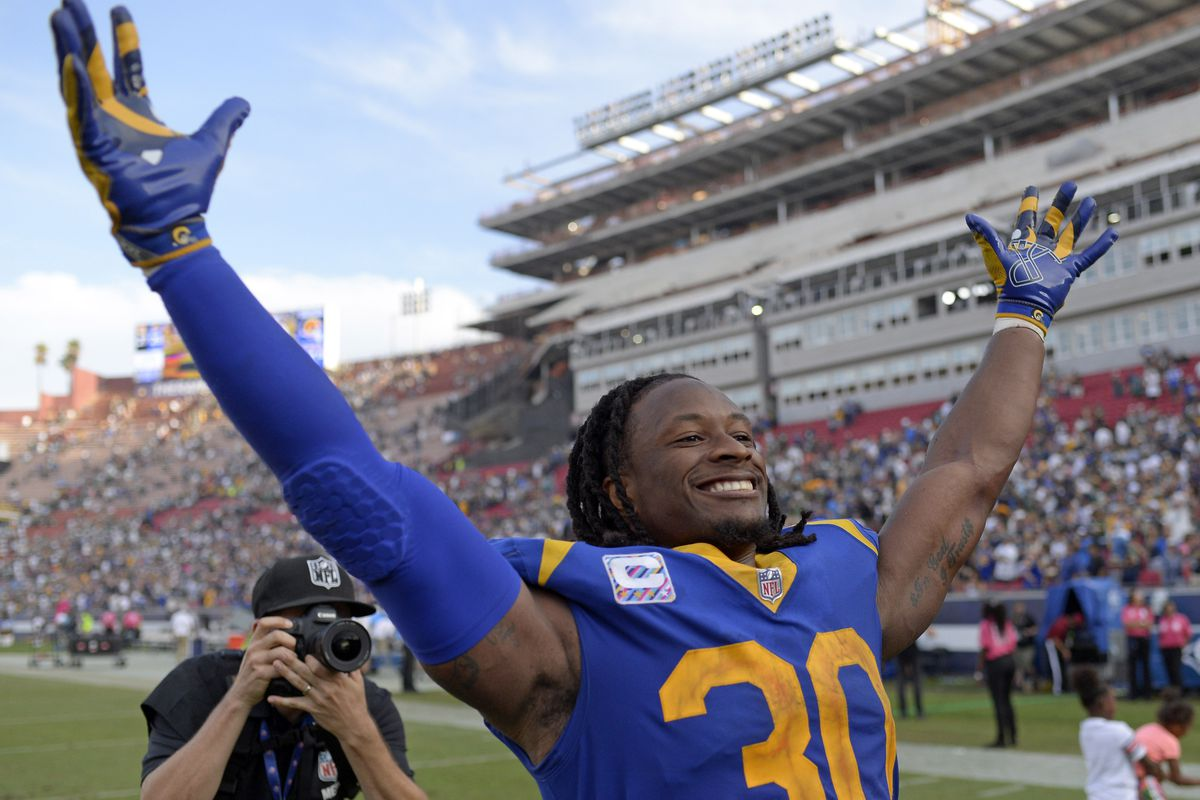 Los Angeles Rams RB Todd Gurley gestures to the fans after a 29-27 win over the Green Bay Packers in Week 8, Oct. 28, 2018.