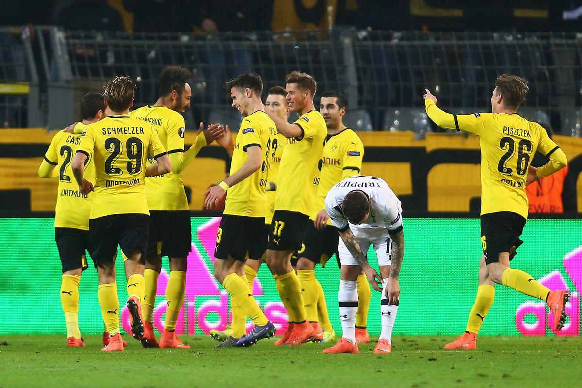 Dortmund celebrate the third goal