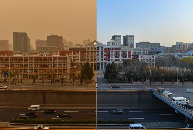 A composite image showing a building pictured during the sandstorm (L) on March 15, and under clear sky (R) on March 16 in Beijing, China.