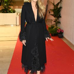 Blake Lively in a Salvatore Ferragamo coat at the Cannes opening dinner.