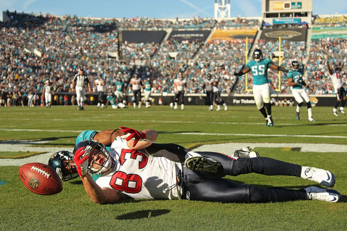 JACKSONVILLE FL - NOVEMBER 14:  Kevin Walter #83 of the Houston Texans catches a touchdown pass during a game against the Jacksonville Jaguars at EverBank Field on November 14 2010 in Jacksonville Florida.  (Photo by Mike Ehrmann/Getty Images)