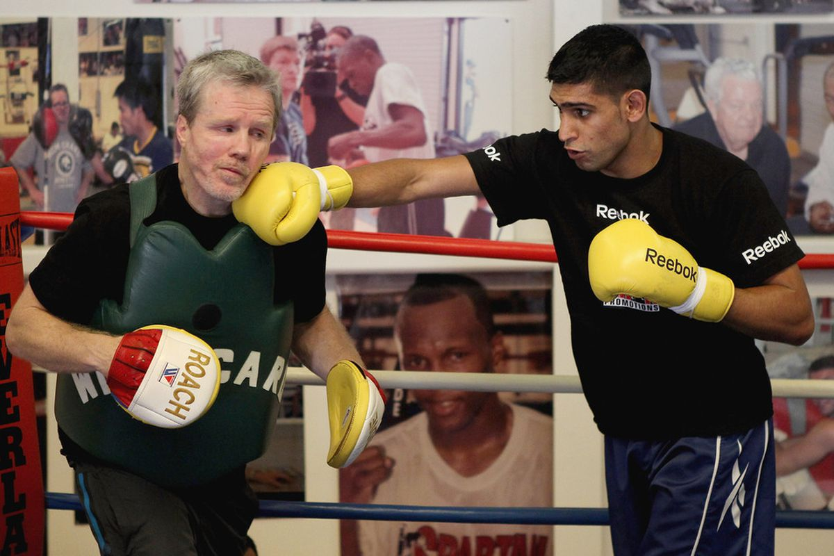Amir Khan will make two times the money Zab Judah will on Saturday night. (Photo by Scott Heavey/Getty Images)
