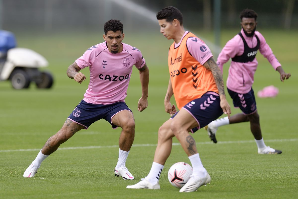 James Rodriguez and Allan take Part in Their First Training Session at Everton
