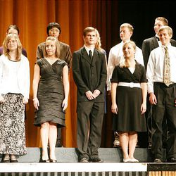 Finalists in the music category take the stage at Cottonwood High School during the Sterling Scholar awards ceremony on Wednesday night.