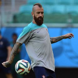 """And in more Portugal hair news, Raul Meireles looks like a pirate internationally known as the Hawk'd Red Beard. Or """"hipster"""" in laymens terms."""