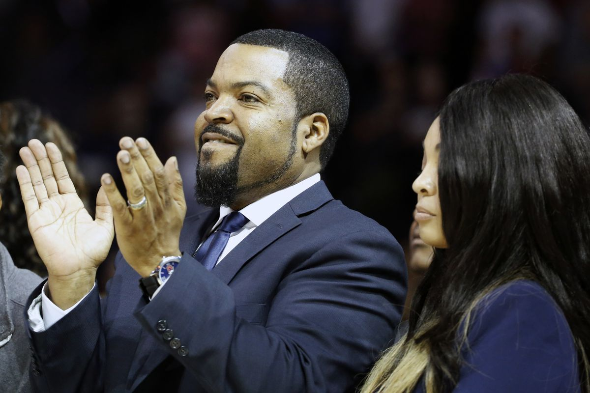 In this June 25, 2017, file photo, Big3 Basketball League founder Ice Cube applauds the crowd during a timeout in the first half of Game 2 in the league's debut at the Barclays Center in New York.