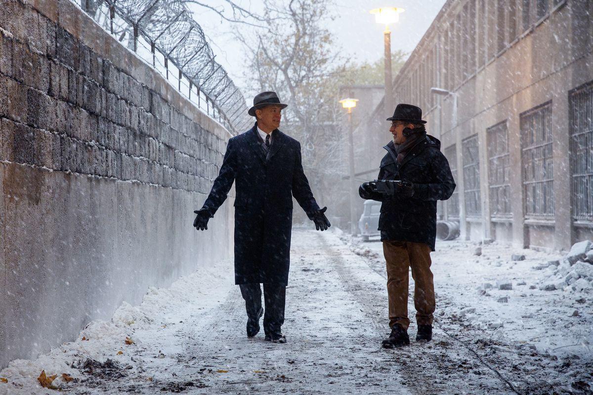 Tom Hanks and Steven Spielberg on the set of Bridge of Spies.