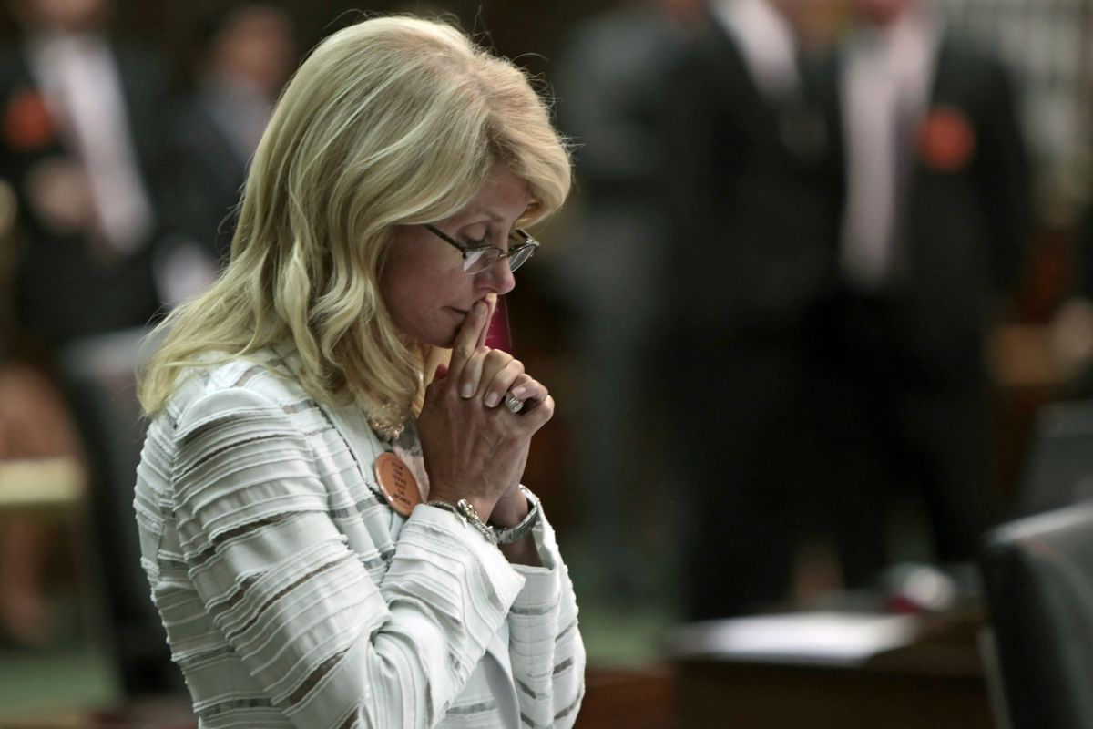 Wendy Davis, after her famous filibuster in June of 2013.