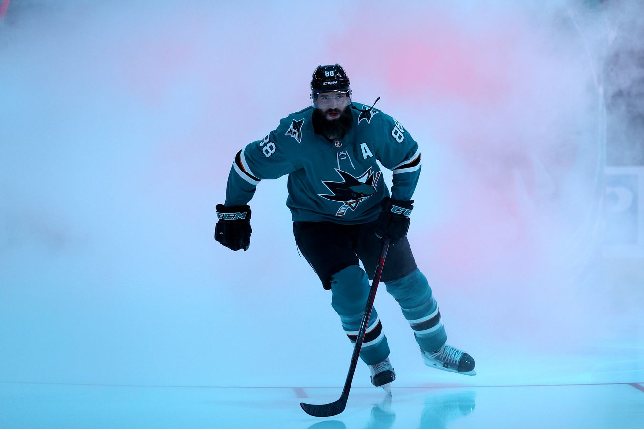 Brent Burns #88 of the San Jose Sharks skates on to the ice for their game against the Anaheim Ducks at SAP Center on October 04, 2021 in San Jose, California.