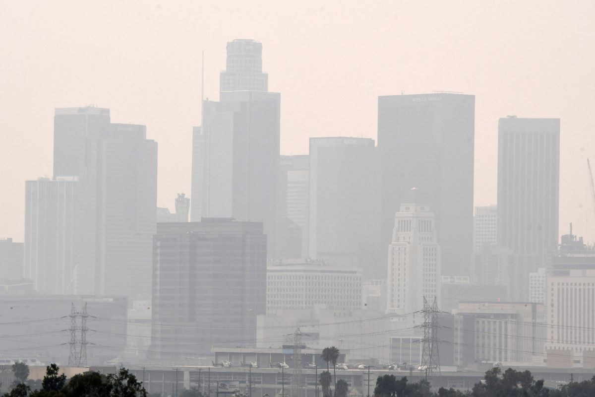 Poor Air Quality over Los Angeles due to the Bobcat and the El Dorado fires.