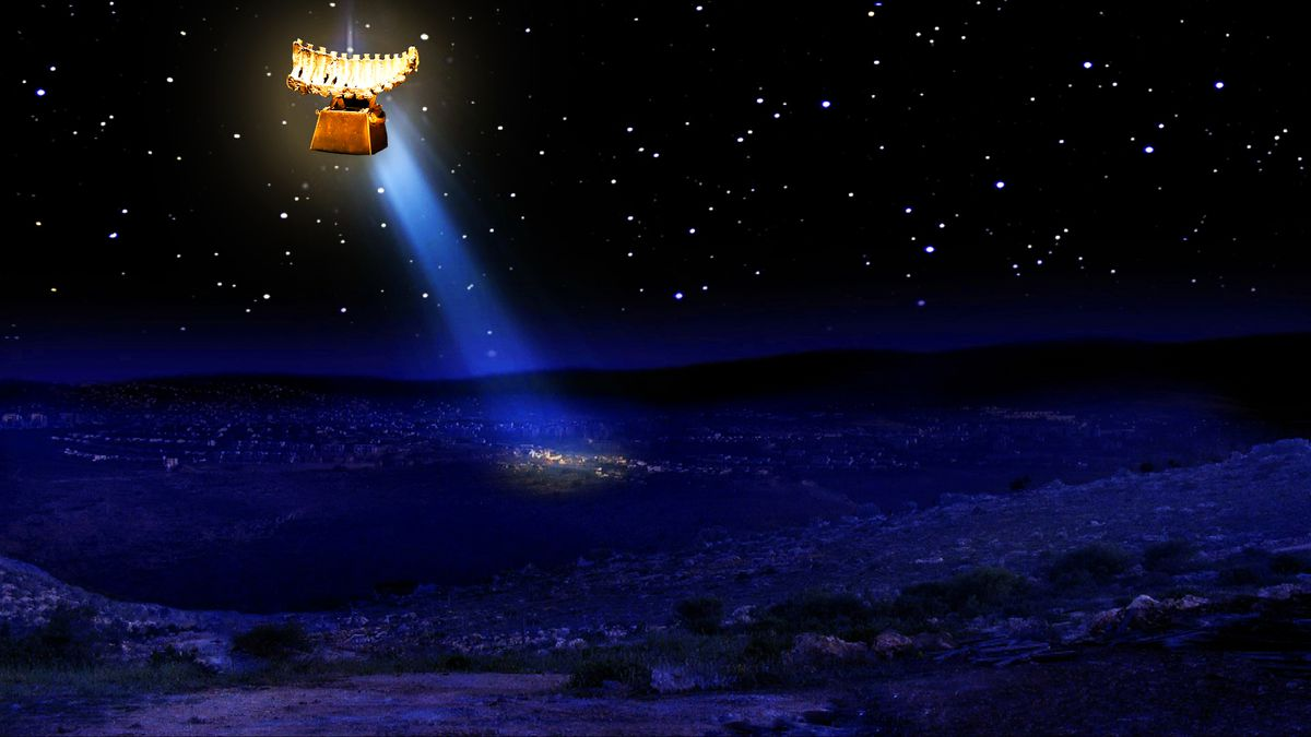 A glowing bronzed rack of ribs is suspended in the  night sky over the town of Bethlehem.