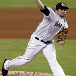 Miami Marlins' Nate Eovaldi delivers a pitch during the third inning of a baseball game against the Atlanta Braves, Tuesday, Sept. 18, 2012, in Miami.