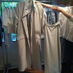 Opera coat, $400 and slip dress $250