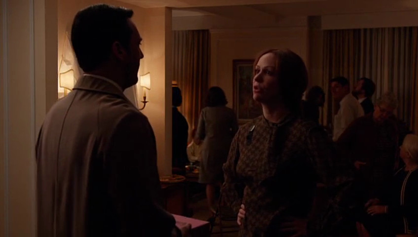 """Look at how Rachel's apartment is full of people mourning her death in the Mad Men episode """"Severance."""""""