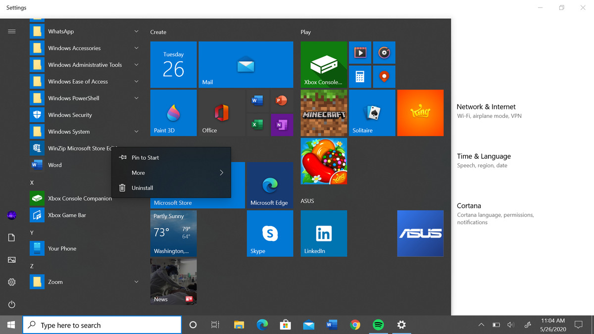 Start menu with right-click options for an app