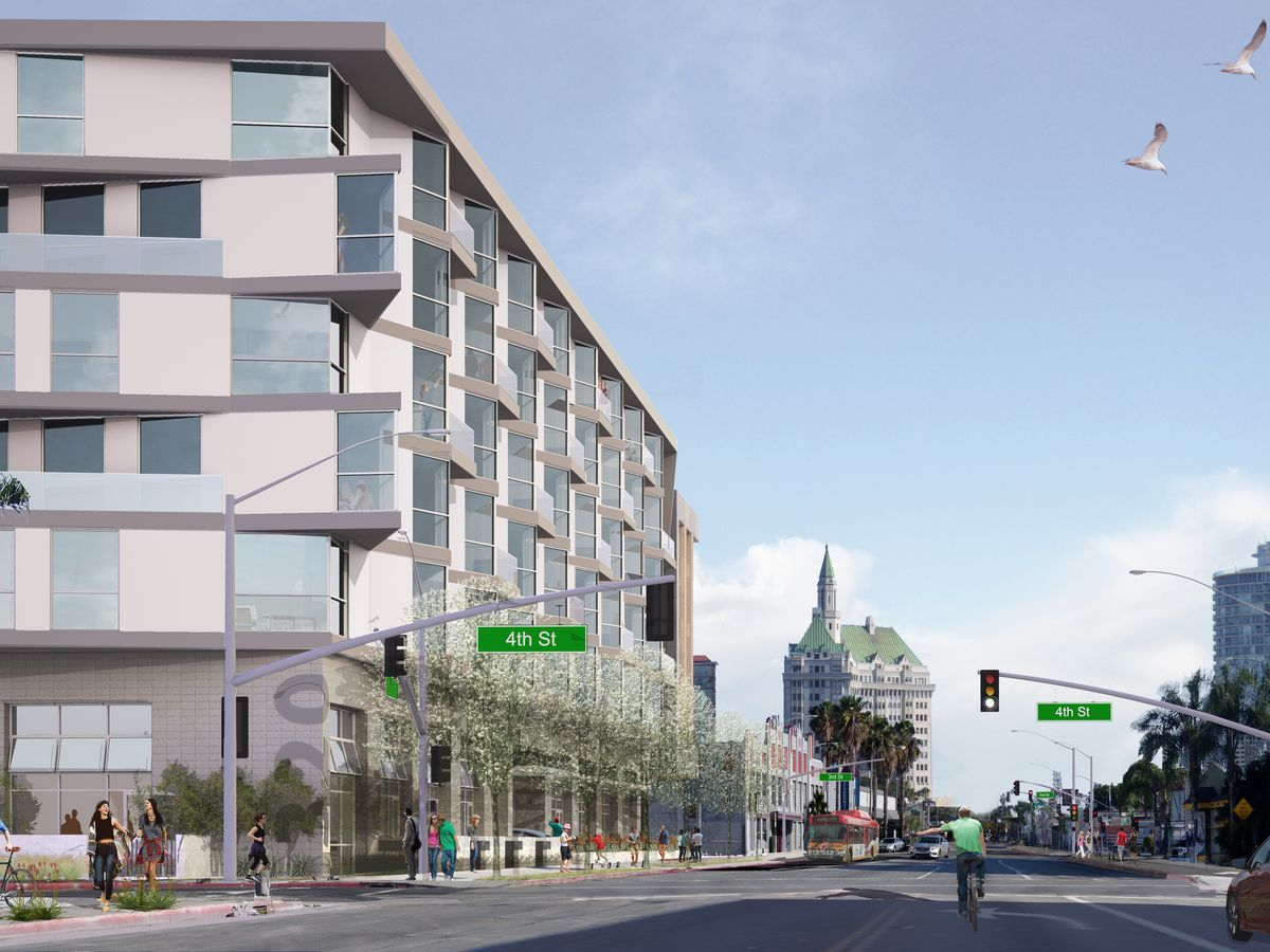 A rendering of a wedge-shaped development extending down the block.