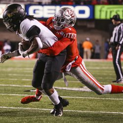 Utah Utes defensive back Jaylon Johnson (1) makes a tackle on Colorado Buffaloes wide receiver Laviska Shenault Jr. (2) during the first half of an NCAA football game at Rice-Eccles Stadium in Salt Lake City on Saturday, Nov. 30, 2019. Johnson was a second-round pick by the Chicago Bears in the 202 NFL draft.