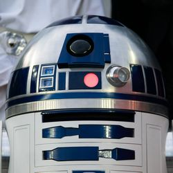 FOXBOROUGH, MA - MAY 25: R2D2 waits to deliver the match ball prior to the game at Gillette Stadium on May 25, 2019 in Foxborough, Massachusetts. (Photo by J. Alexander Dolan - The Bent Musket)