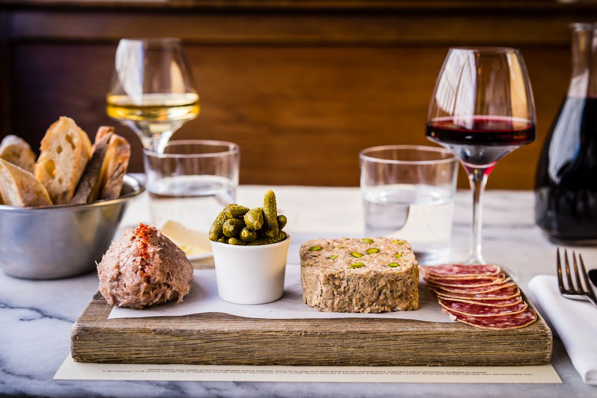 Wine and charcuterie at Terroirs wine bar, one of the best restaurants in East Dulwich