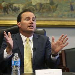 Sen. Mike Lee, R-Utah, meets with reporters and members of the editorial board at the Deseret News and KSL in Salt Lake City, Monday, Aug. 29, 2016.