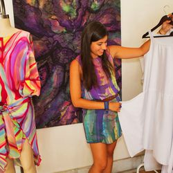 Blank silhouettes help her clients decide what piece works best for them.