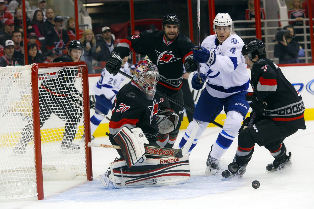Scenes like this are possible on Sunday at the Tampa Bay Times Forum as the Lightning will wear their road white uniforms and the Hurricanes will employ their black, third jerseys.