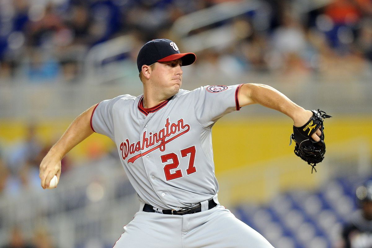 July 13, 2012; Miami, FL, USA; Washington Nationals starting pitcher Jordan Zimmermann (27) throws during the second inning against the Miami Marlins at Marlins Park. Mandatory Credit: Steve Mitchell-US PRESSWIRE