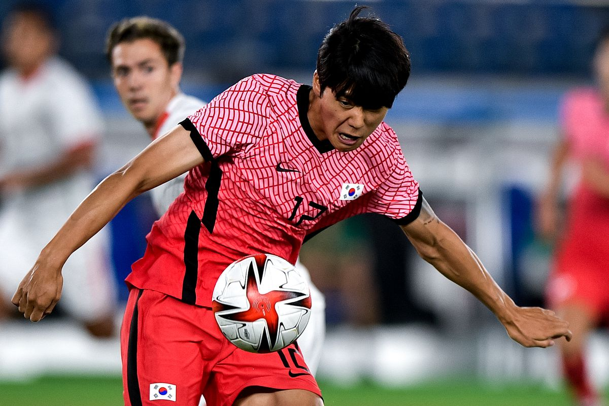 Young-woo Seol of South Korea during the Men's Football Tournament Quarter Final match between South Korea and Mexico on day 8 of the Tokyo 2020 Olympic Games at International Stadium Yokohama on July 31, 2021 in Yokohama, Japan.