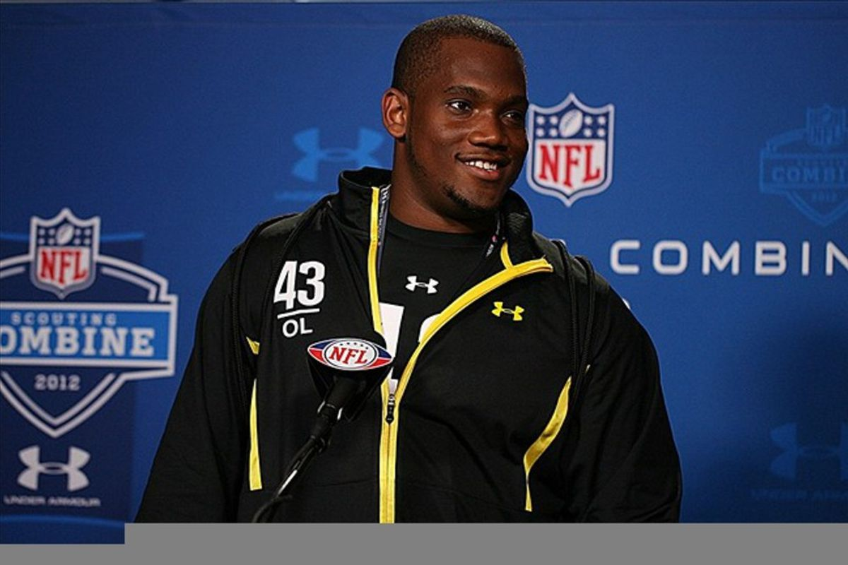Feb 24, 2012; Indianapolis, IN, USA; Florida State Seminoles offensive lineman Zebrie Sanders speaks at a press conference during the NFL Combine at Lucas Oil Stadium. Mandatory Credit: Brian Spurlock-US PRESSWIRE