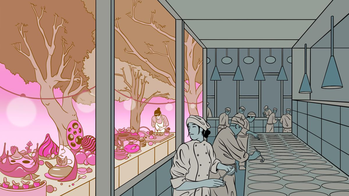 An illustration of cooks in a kitchen looking out the window at a more colorful world.
