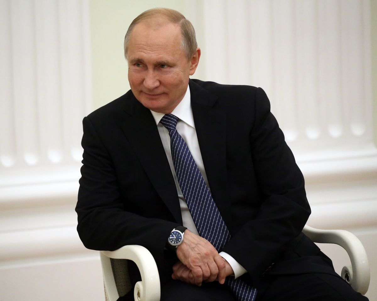 Russian President Vladimir Putin smiles during his talks with Kyrgyz counterpart at the Kremlin, in Moscow, Russia on July, 11,2019.