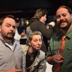 Beer writer Mark Burlet, NOLA Tap Room assistant manager Angela Grittman, and homebrewer Mitch Grittman