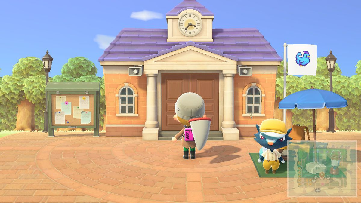 Outside of the Resident Services building in Animal Crossing New Horizons