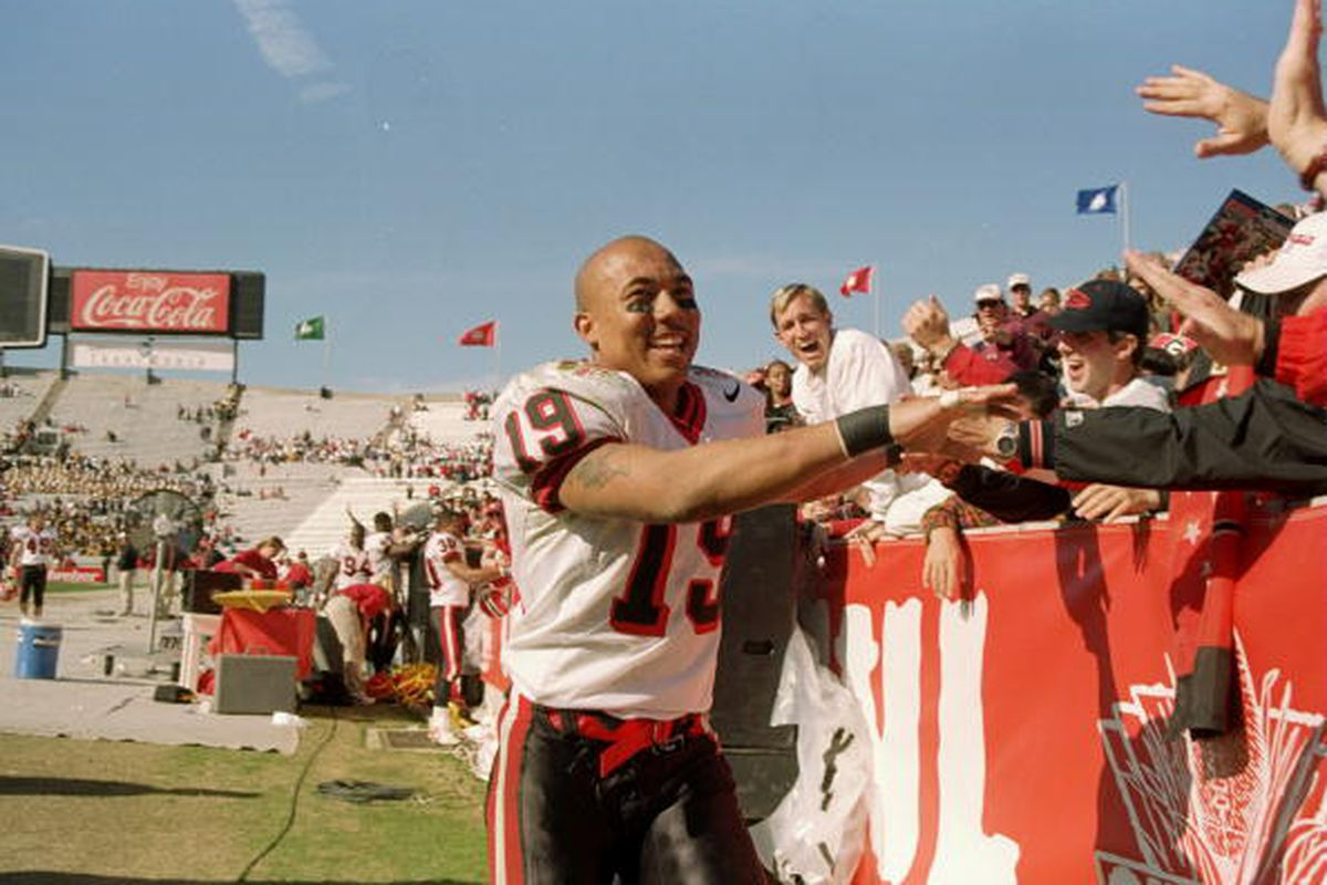 Wide receiver Hines Ward of the Georgia Bulldogs celebrates during the Outback Bowl against the Wisconsin Badgers at Houlihan''s Stadium in Tampa, Florida. Georgia won the game, 33-6. By Scott Halleran, Getty Images Sport.
