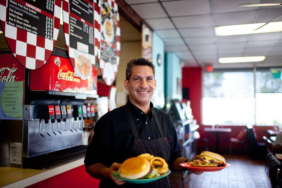 Dan's Hamburgers general manager John Junk, son of founder Dan. He started working at his dad's burger shop at age 13.