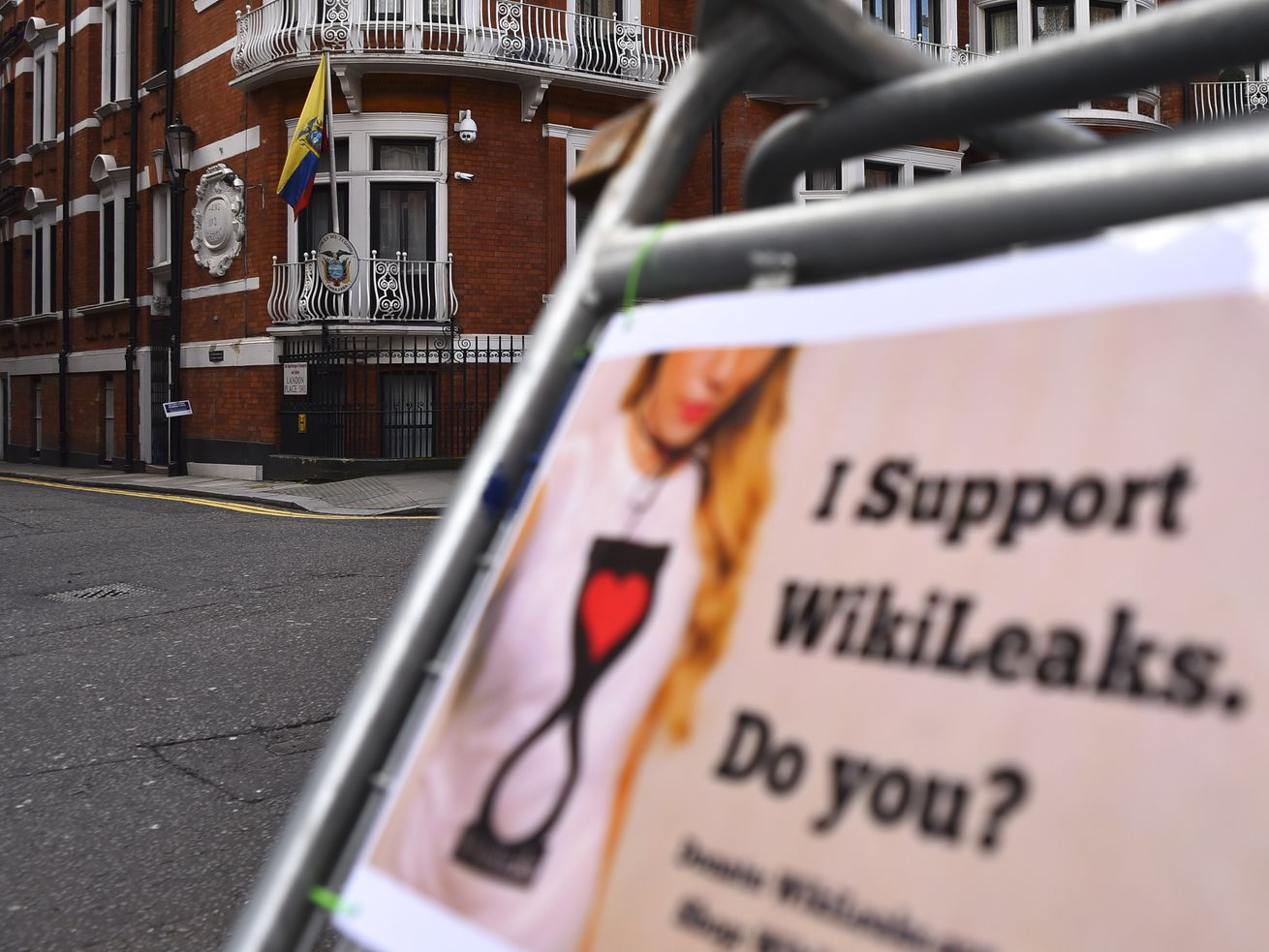 A WikiLeaks supporter's sign near the Ecuador Embassy in London.