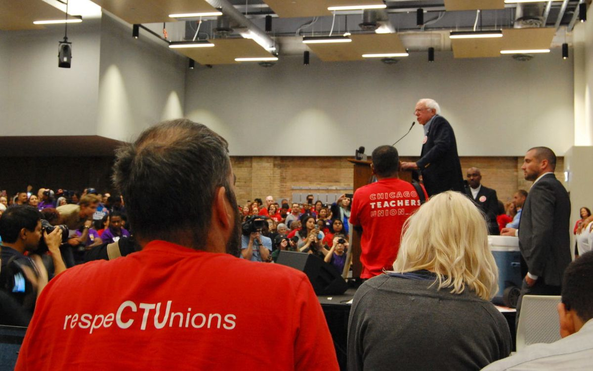 Sen. Bernie Sanders appeared at a union rally on Tuesday night and pushed Chicago officials to settle ongoing contract negotiations with two unions that represent the city's teachers and support staff.